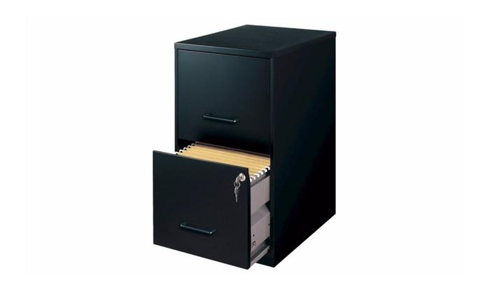 67% Off on Hirsh Black Vertical 2-Drawer...   Groupon Goods