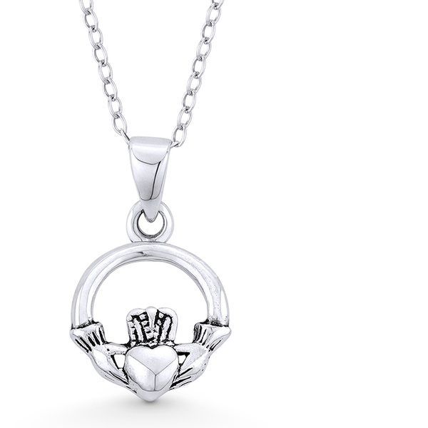 .925 Sterling Silver Claddagh Charm Pendant