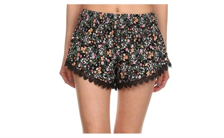 Junior's Floral Pattern Lace Summer Beach Shorts