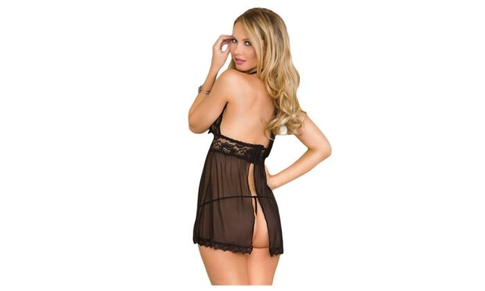 8dca062d8 ... Women s Lingerie Plus Size Multi Strap Mesh Babydoll With G-string ...