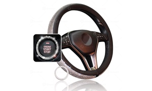 Zone Tech Bling PU Leather Steering Wheel Cover Crystal Ring Sticker
