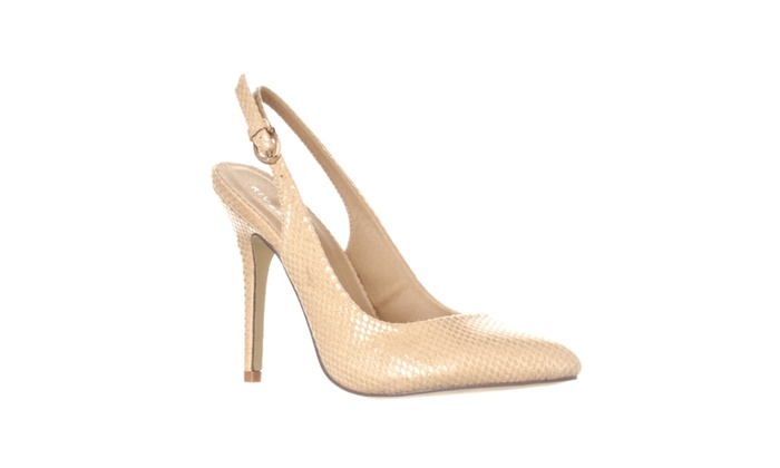 Riverberry 'Lucy' Pointed-Toe Sling Back Pump Heels, Beige Snake