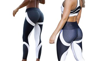 Women Honeycomb Printed Fitness Leggings High Waist Workout Elasticity Pants
