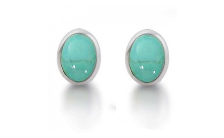 Bling Jewelry 925 Silver Bezel Set Oval Turquoise Stud Earrings 76103cb2-1096-4b71-8f6a-876575b44505