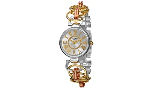Akribos XXIV Womens Diamond Quartz Chain Link Watch AKGP679TRI
