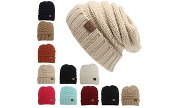 Women Winter Knitted Folds Casual CC Labeling Beanies Solid Color Beanie Hat