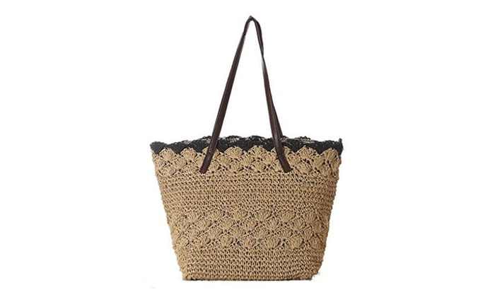 FAIRYSAN Women's Casual Simple Style Straw Beach Shoulder Tote Handbag with Leather Top Handles - St...