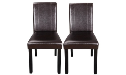 Set of 2 Parson Dining Chairs, Brown Faux Leather