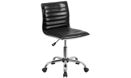 Low Back Designer Armless Ribbed Swivel Task Chair d01e6b72-66ad-4364-a764-cc7d53ee618a