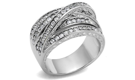 Women's Round Cut Cubic Zirconia Stainless Steel Anniversary Ring