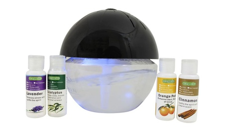 EcoGecko Earth Globe Air Washer Revitalizer Oil Diffuser, 4 oils Included photo