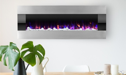 Electric Fireplace-Wall Mounted w/ LED Flame, Adjustable Heat & Remote - 54 inch