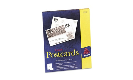Avery Postcards for Laser Printers, Uncoated White, 2/Sheet, 100 Pk