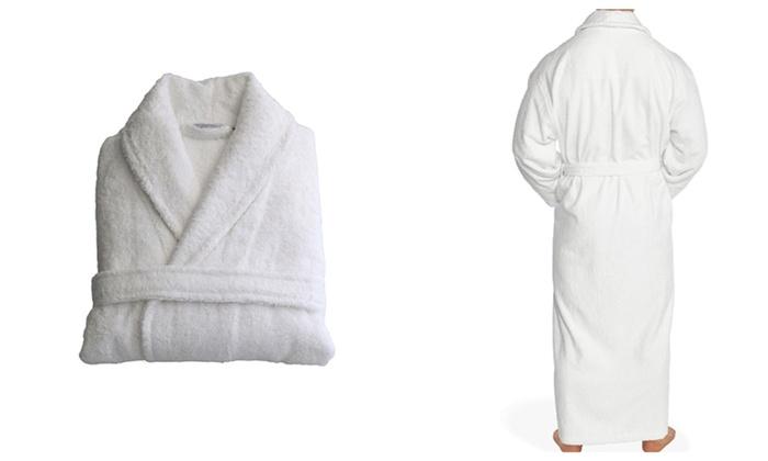 Unisex White Cotton Comfortable Bathrobe With 2 Pocket