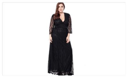 5d1ea074358 Women Plus Size Evening Maxi Gown Dress Black - KMWD063