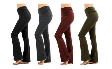 Women's Solid Cotton Yoga Pants with Fold Down Waist Flare Plus Size 35268f6c-8fac-4678-93b1-5e62c7937d23