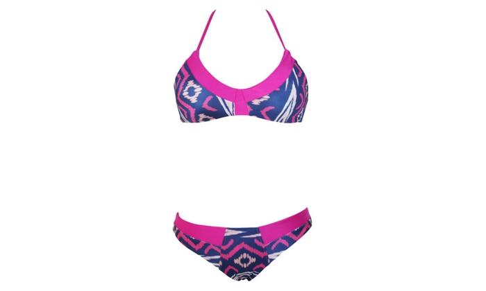 Women's Rosy Blue Sexy Low Rise Geometric Print Bikini