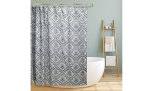 Fabric Canvas LS-SC028079 70 x 70 in. Teal Paisley Damask Design Polyster Shower