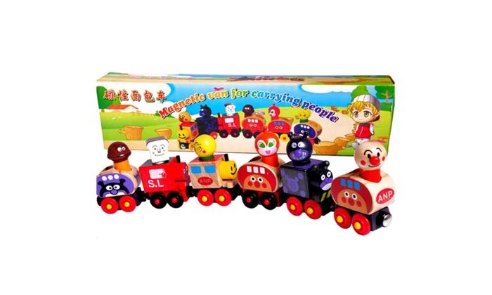 FREDERICK ERDMANN: Wooden Animal Train Cars Set Building Blocks Children's Fun Puppet