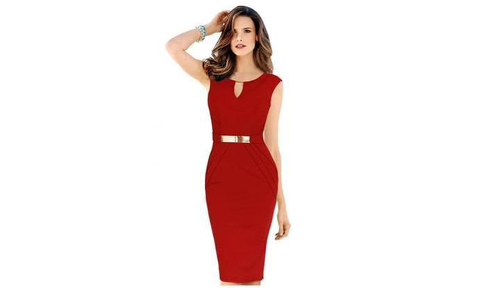 Women's Slim Bodycon Small V-Neck Sleeveless Dress - UWD027 , UWD026