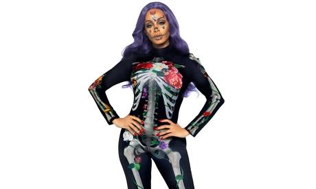 Leg Avenue Women's 3D Floral Skeleton Catsuit Costume