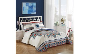 4 Piece Reversible Quilt Cover Set 100% Cotton Bohemian Inspired Bedding