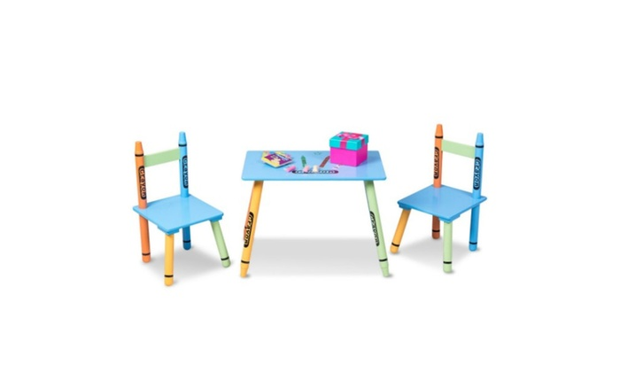 Pleasing 3 Pcs Wood Crayon Kids Table Chairs Set Ocoug Best Dining Table And Chair Ideas Images Ocougorg