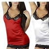 women's satin lingerie Lace Up Back Cami Set Sexy Nightwear