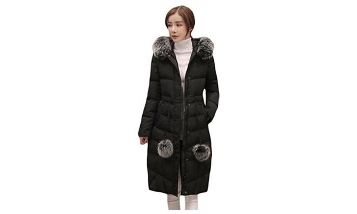 Women's Warm Zipper Fur Hooded Long Down Coat Overcoat with Pom Belt