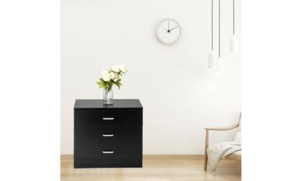 Bedroom Storage Dresser 3 Drawers with Cabinet Wood Furniture black