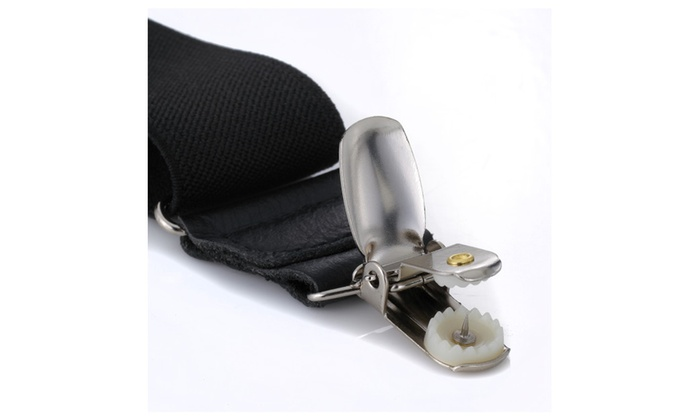 "Mens Elastic No Slip ""Pin Clip"" Y Back Suspenders with Leather Trim"
