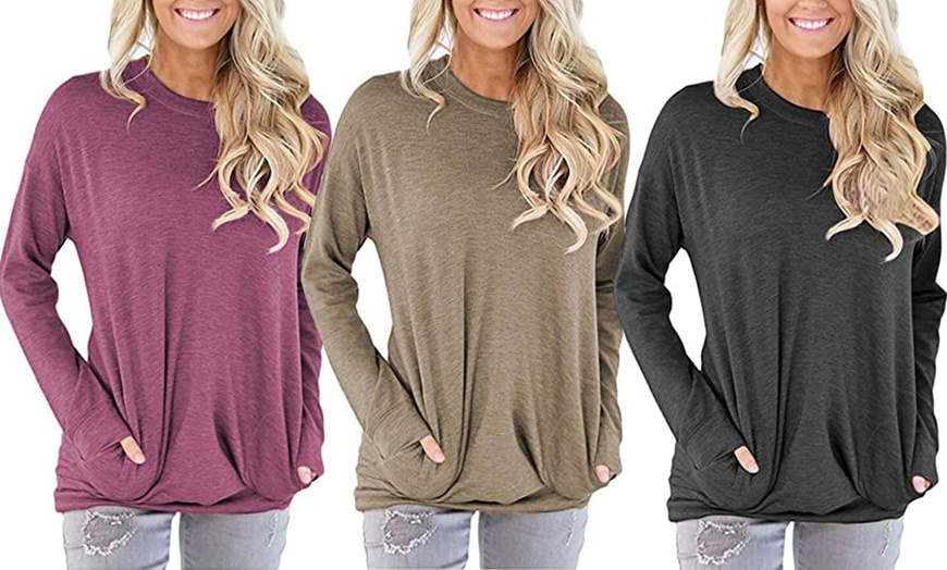Long Sleeve Shirts For Women,Womens Crewneck Sweatshirt Casual Loose Fitting Tops Long Sleeve T Shirt Tunic Pullover
