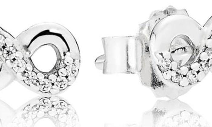 8da152ab6 Pandora Infinite Love Stud Earrings - 290695CZ | Groupon