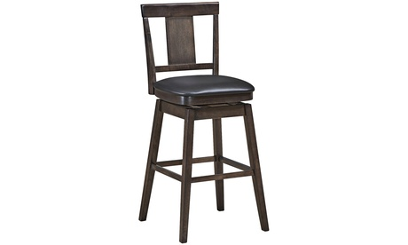 Swivel Bar Stool 29 inch Upholstered Pub Height Bar Chair with Rubber Wood Leg
