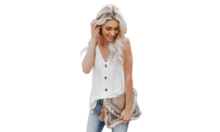 Women's Spaghetti Strap Buttoned Tank Top Was: $45.28 Now: $9.99.