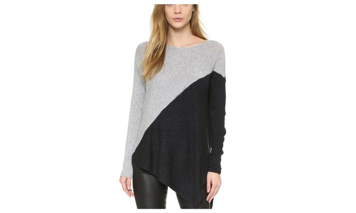 Women's ladies Solid Regular Fit Colorblock Pullovers Sweater