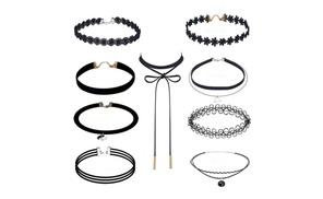 9 Pcs Black Choker Necklace Set Velvet Necklace Choker