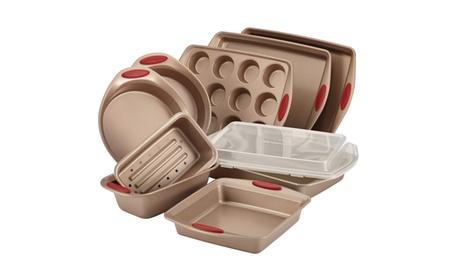 Rachael Ray Cucina Nonstick Bakeware 10pc Set, Latte Brown w Cranberry Red Grips 47cbf973-01d4-4b6e-942e-1130b01fe901