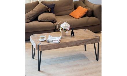 Wood Coffee Table with Metal Legs,Living Room Set Brown