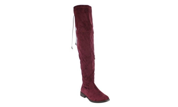 AD97 Women Drawstring Pull On Low Heel Over The Knee High Dress Boots