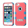 Insten Hard Dual Coated Silicone Case Stand For Iphone 5 5s Red Teal