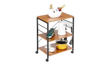 3-Tier Kitchen Microwave Cart Utility Cart Vintage Rolling Bakers Rack