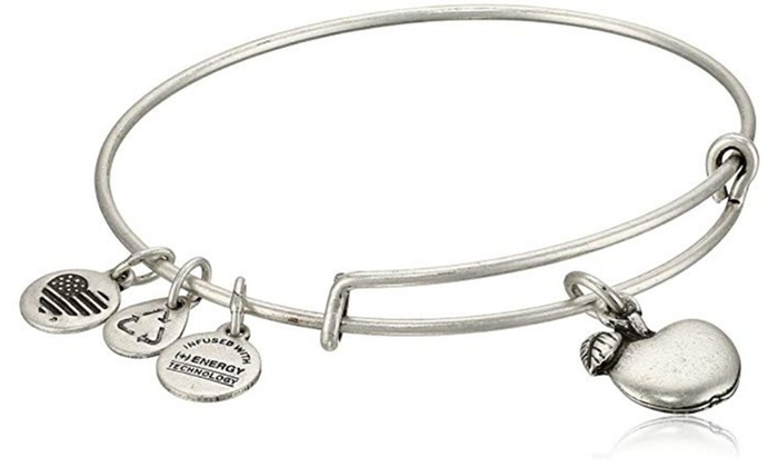 3e74daa307d34 Alex And Ani APPLE OF ABUNDANCE Russian Silver Charm Bangle w/ Tag Card &  Box