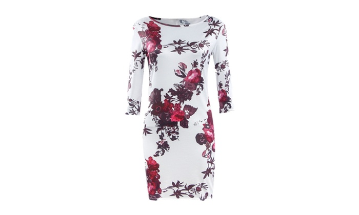 Fashion White Flower Printing Round Collar Half Sleeves Sheath Dress