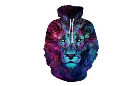 Men's Realistic 3D Lion Print Pullover Hooded Sweatshirts 297b3695-1876-417d-811f-5b2f921e387d