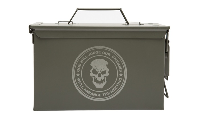 Metal Ammo Can With God Will Judge Our Laser Engraving