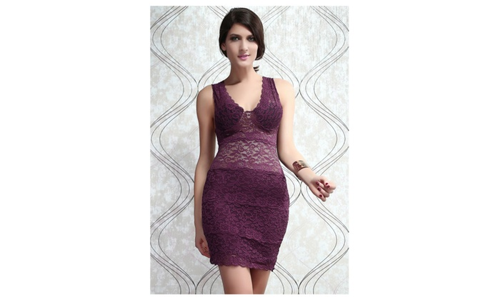 Women's Allover Lace Strappy Fitted Cup Bodycon Dress Purple - Purple / one size