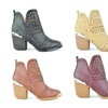 Women's Laser Cut Side Zipper Chunky Block Heel Ankle Bootie