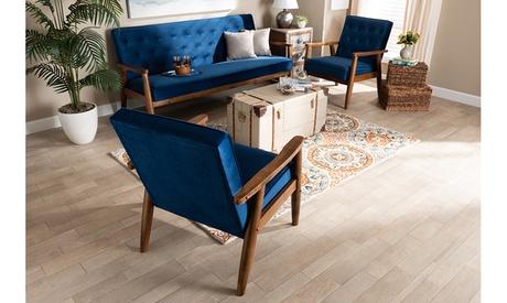 Sorrento Velvet Fabric Upholstered Walnut 3-Piece Wooden Living Room Set