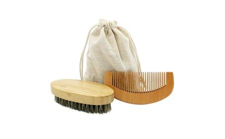 Beard Brush Kit with Wooden Comb-Natural Boar Bristle Beard Brush Set 5703ec18-b636-4770-be30-0a45777b7146